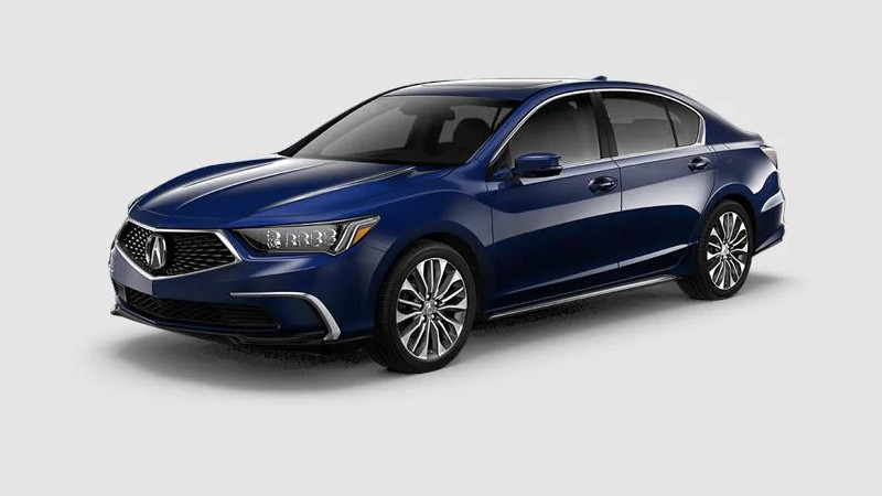 Front driver angle of the 2020 Acura RLX in Fathom Blue Pearl color