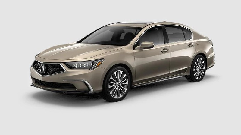 Front driver angle of the 2020 Acura RLX in Glided Pewter Metallic color
