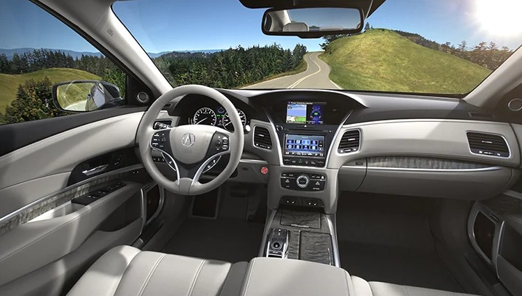 Interior of the 2020 Acura RLX in Graystone color