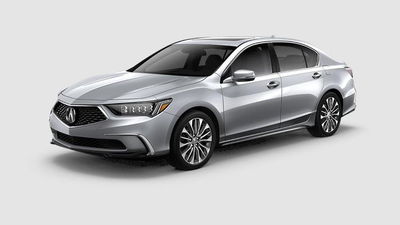 Front driver angle of the 2020 Acura RLX in Lunar Silver Metallic color