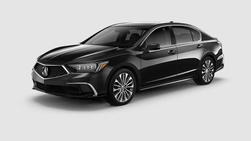 Front driver angle of the 2020 Acura RLX in Majestic Black Pearl color