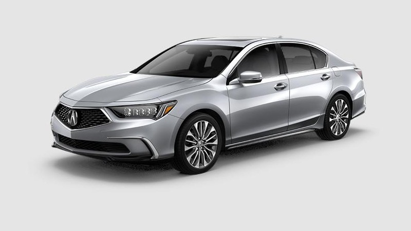 Front driver angle of the 2020 Acura RLX in Modern Steel Metallic color
