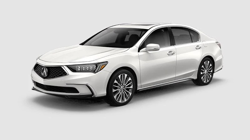 Front driver angle of the 2020 Acura RLX in Platinum White Pearl color