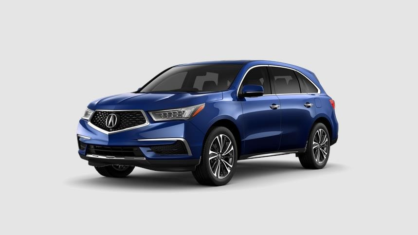 Front driver angle of a 2020 Acura MDX in Fathom Blue Pearl color