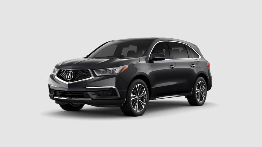 Front driver angle of a 2020 Acura MDX in Gunmetal Metallic color