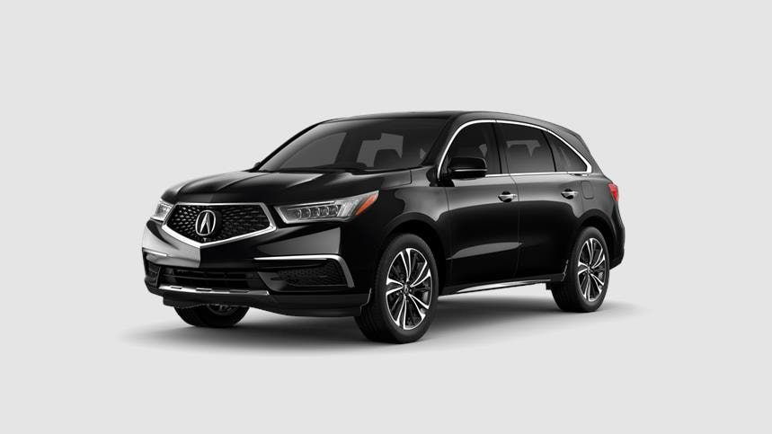 Front driver angle of a 2020 Acura MDX in Majestic Black Pearl color