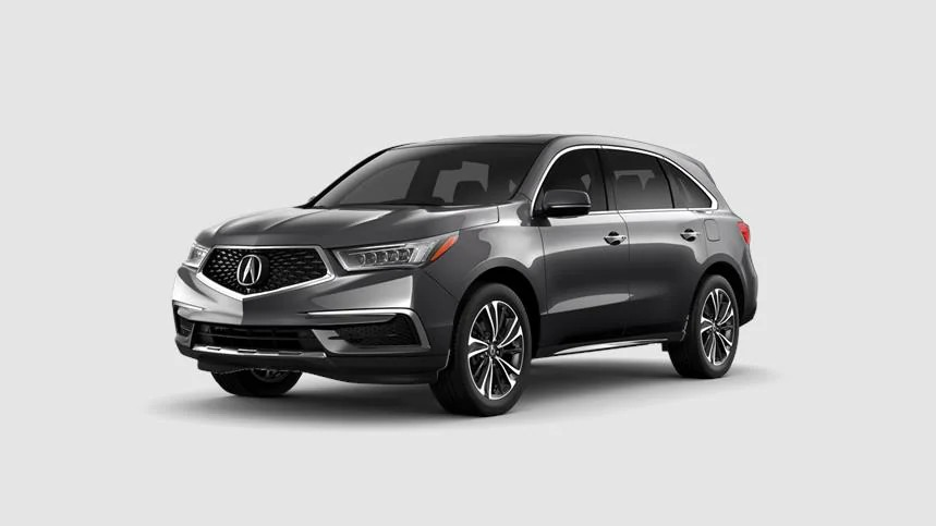 Front driver angle of a 2020 Acura MDX in Modern Steel Metallic color