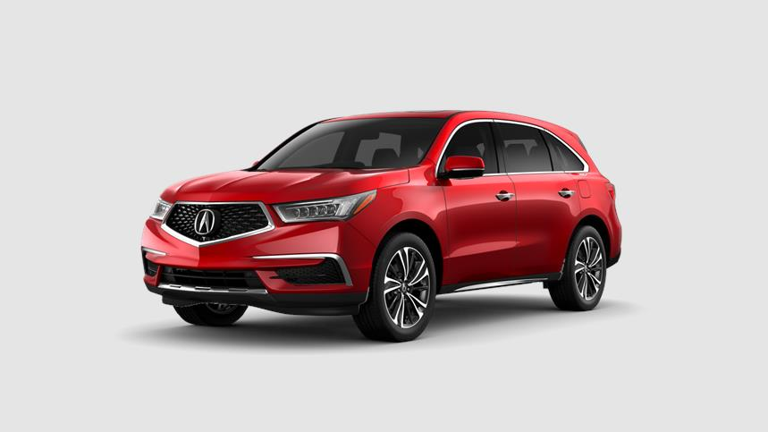 Front driver angle of a 2020 Acura MDX in Performance Red Pearl color
