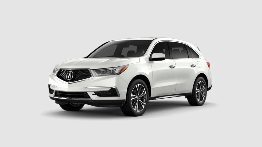 Front driver angle of a 2020 Acura MDX in Platinum White Pearl color