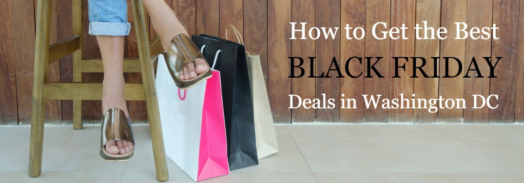 "Shopping bags on the floor with a person sitting on a stool next to them and the text ""How to Get the Best Black Friday Deals in Washington DC"""