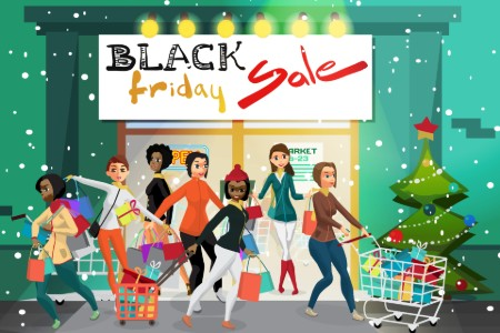 Graphic with people shopping at a store for Black Friday