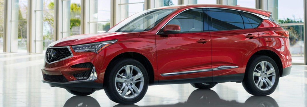 Front driver angle of a red 2020 Acura RDX