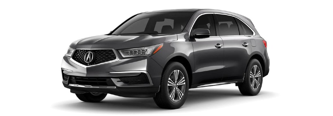 Front driver angle of a grey 2020 Acura MDX