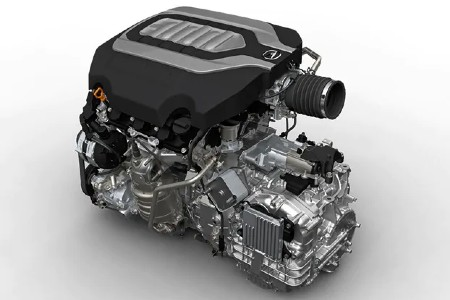 2020 Acura RLX V6 engine on a white background