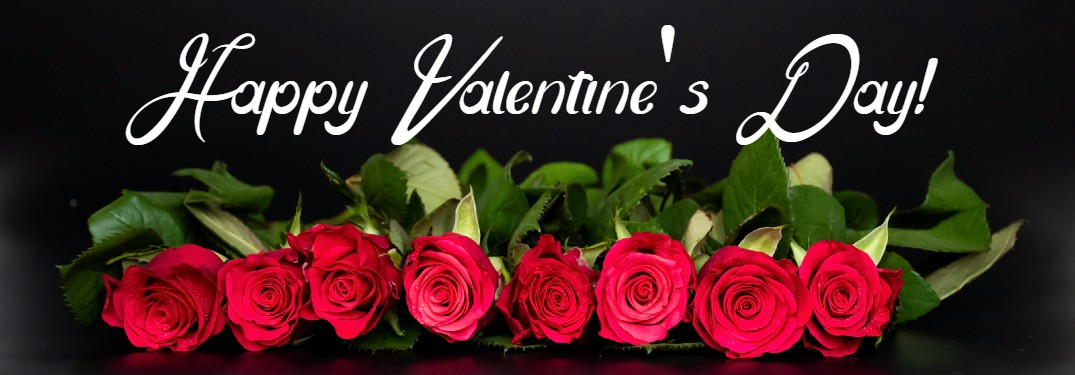 "Roses on a black background with the text ""Happy Valentine's Day!"""