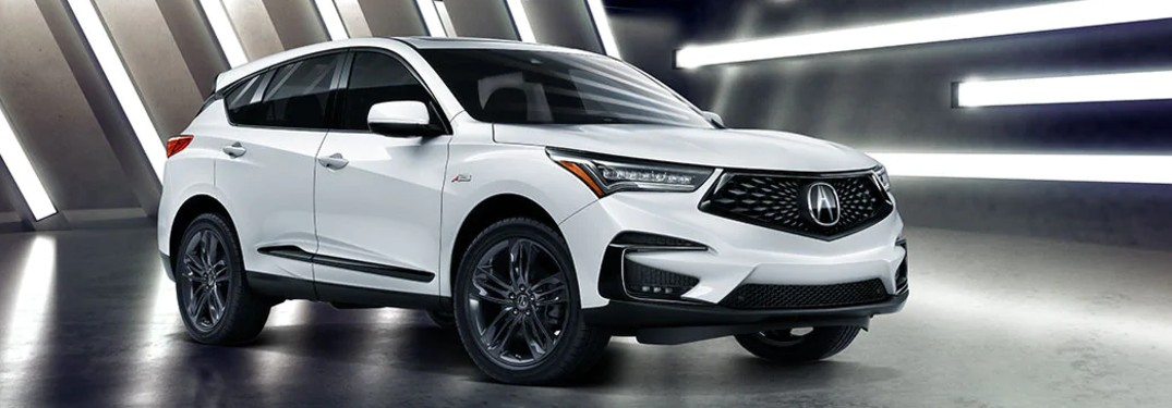 Front passenger angle of a white 2020 Acura RDX A-Spec Package