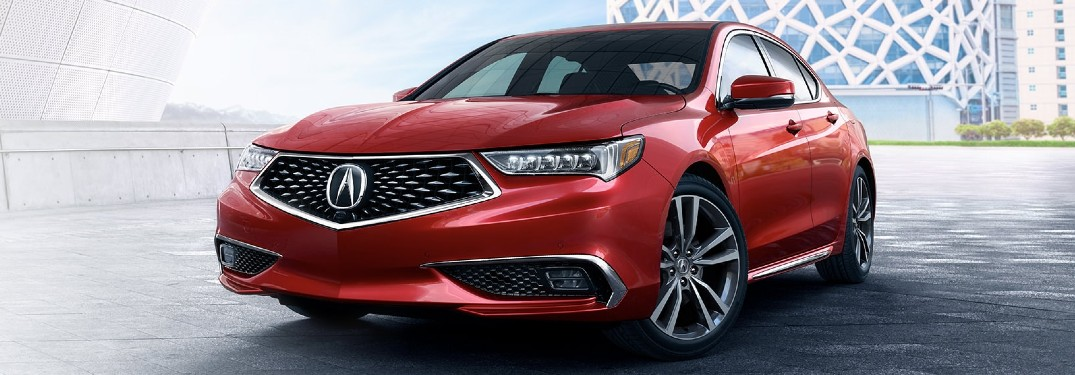 Front driver angle of a red 2020 Acura TLX