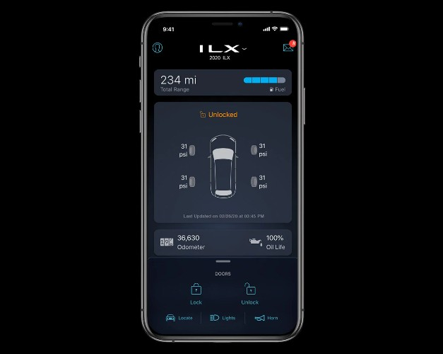 Graphic of the AcuraLink Connected Services feature for the 2020 Acura ILX