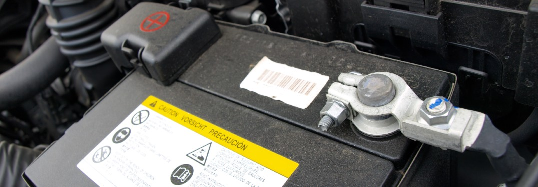 Close up of a car battery in a car