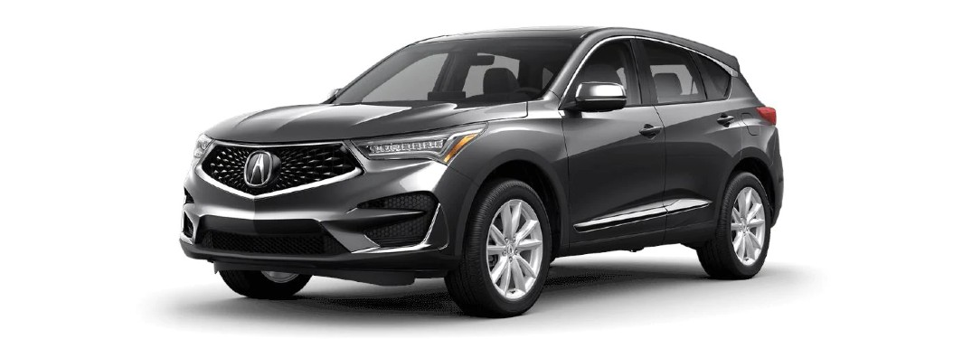 Front driver angle of a grey 2021 Acura RDX base model