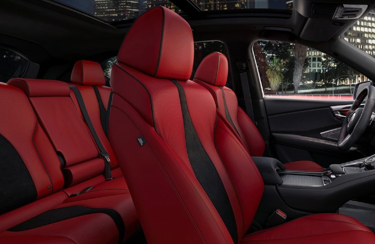 Red A-Spec seats inside the 2021 Acura RDX