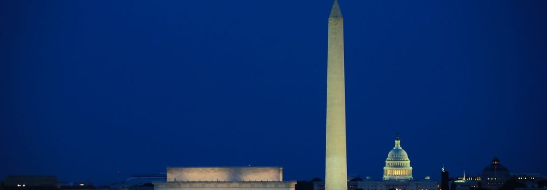 The skyline of Washington DC at night.