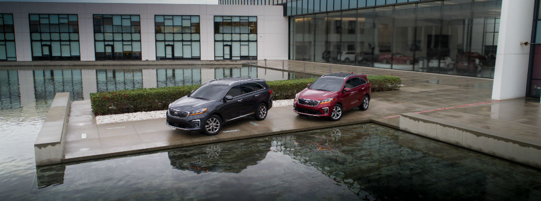 A photo of two versions of the 2019 Kia Sorento on display near a reflecting pool.