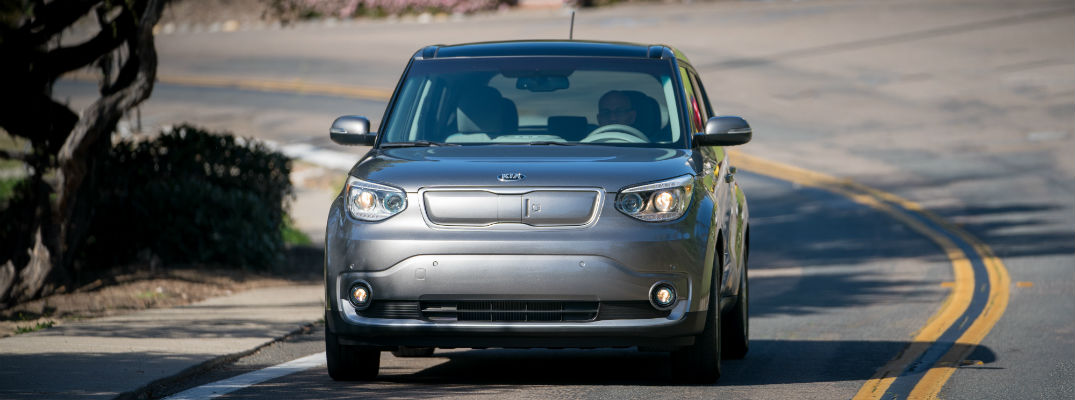 A photo of an electric version of the Kia Soul being tested on the road.