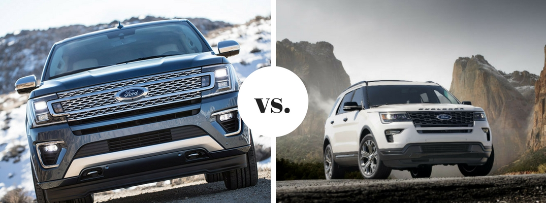 2018 Ford Expedition positioned next to Ford Explorer in comparison image