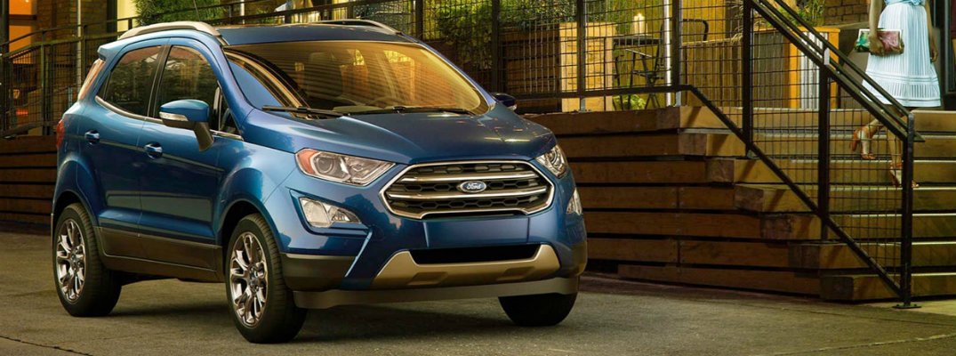 Blue 2018 Ford EcoSport parked in front of stairs