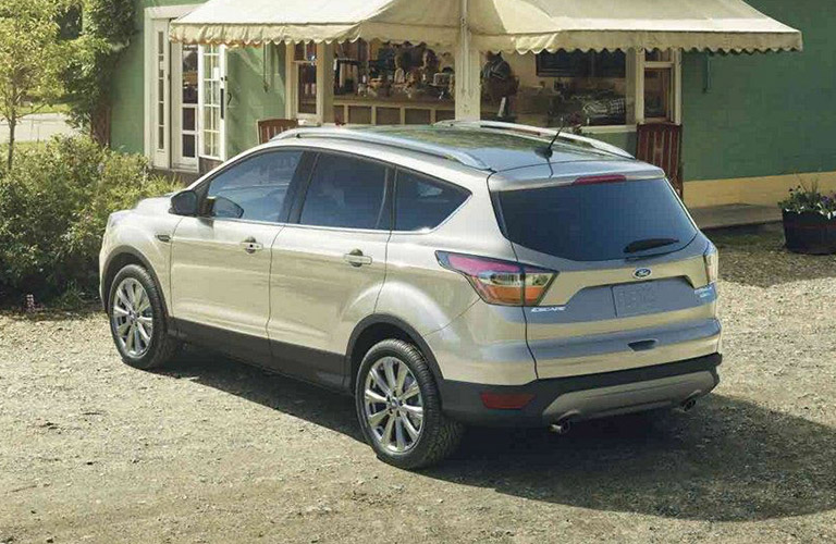 Rear shot of white 2019 Ford Escape