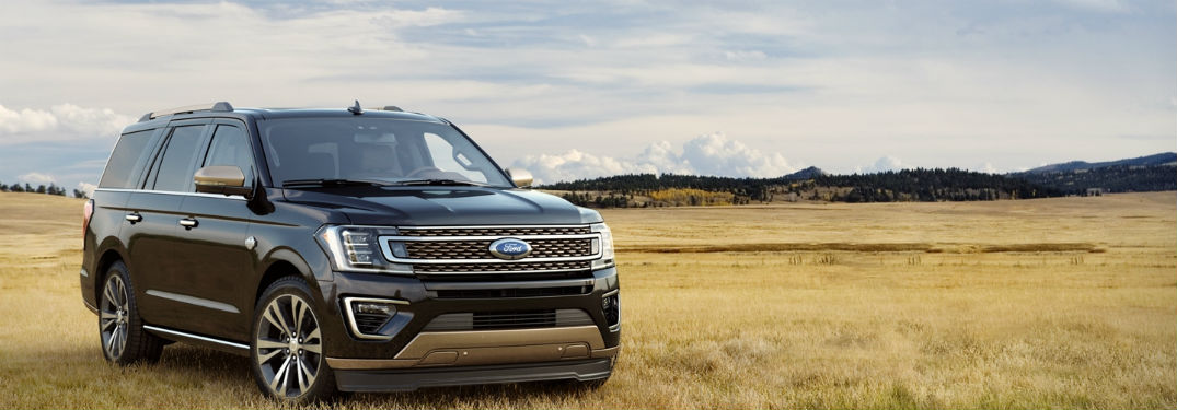 2020 Ford Expedition black exterior front fascia passenger side in grassy field