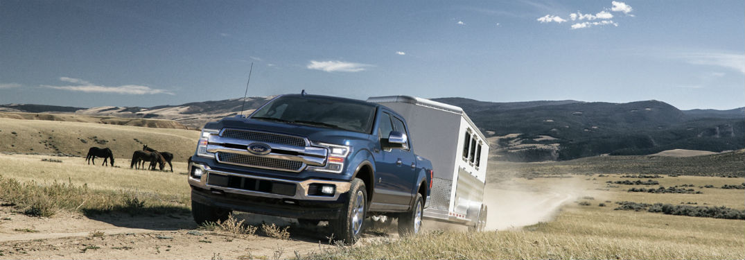 2020 Ford F-150 exterior front fascia driver side pulling trailer on dirt road with horses
