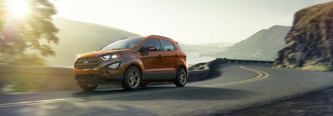 Exterior view of an orange 2020 Ford EcoSport