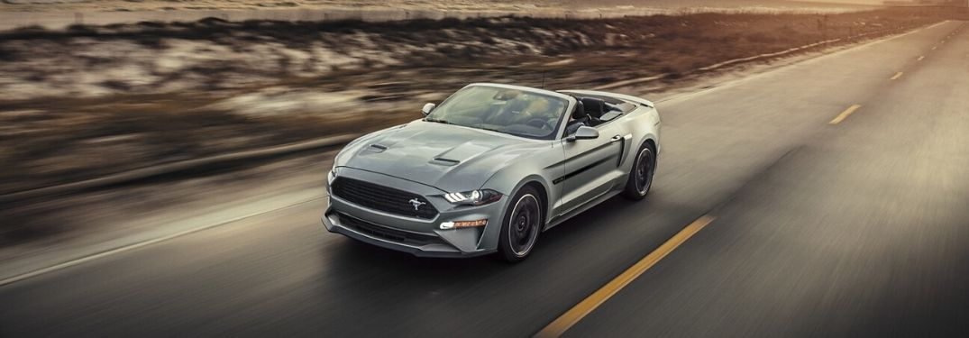 Exterior view of a silver 2020 Ford Mustang Convertible