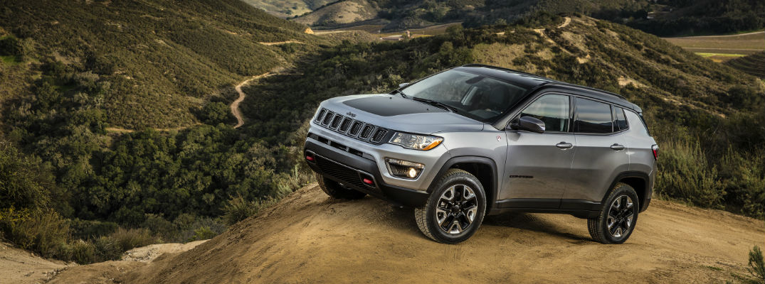 A Trailhawk version of the Jeep Compass on a hill