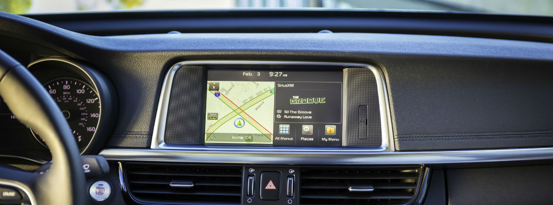 A view of the digital touchscreen available in all of the Kia vehicles that are compatible with Google digital assistant products