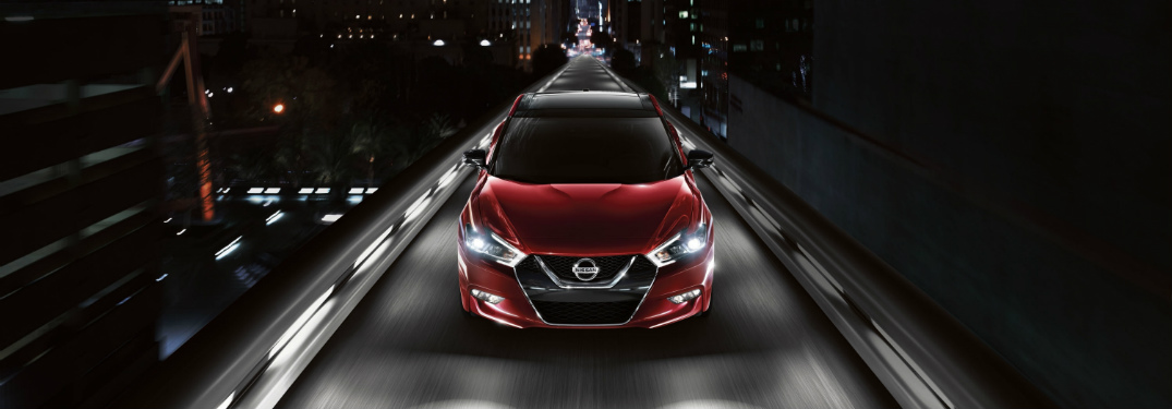 red 2018 Nissan Maxima overhead view