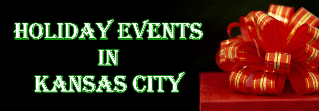 """Christmas present with """"holiday events in Kansas City"""" written next to it"""
