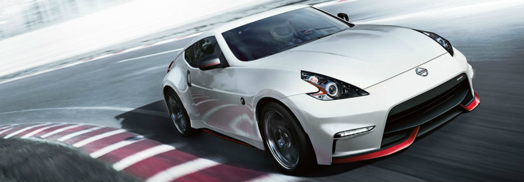 white Nissan 370Z front side view