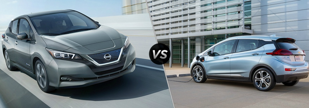 2018 Nissan Leaf and 2018 Chevy Volt side by side