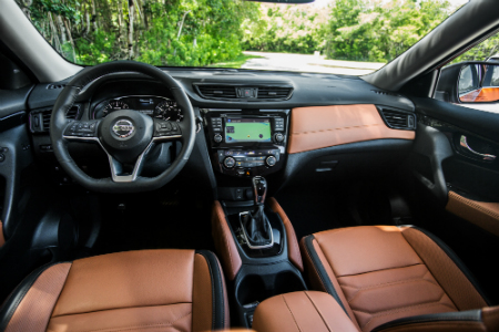 Front Interior Of 2018 Nissan Rogue Including Steering Wheel And  Infotainment System For Instance ...