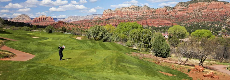 golfing near canyon