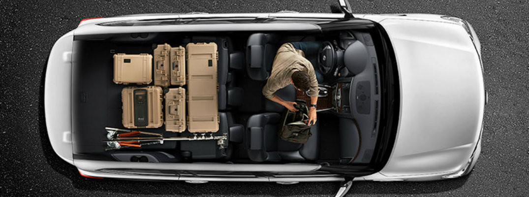 View from above of a silver 2018 Nissan Armada highlighting the interior versatility of the vehicle