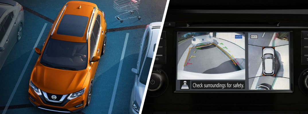 360-degree view of an orange Nissan Rogue in a parking lot and a view of the backup camera and Around View Monitor