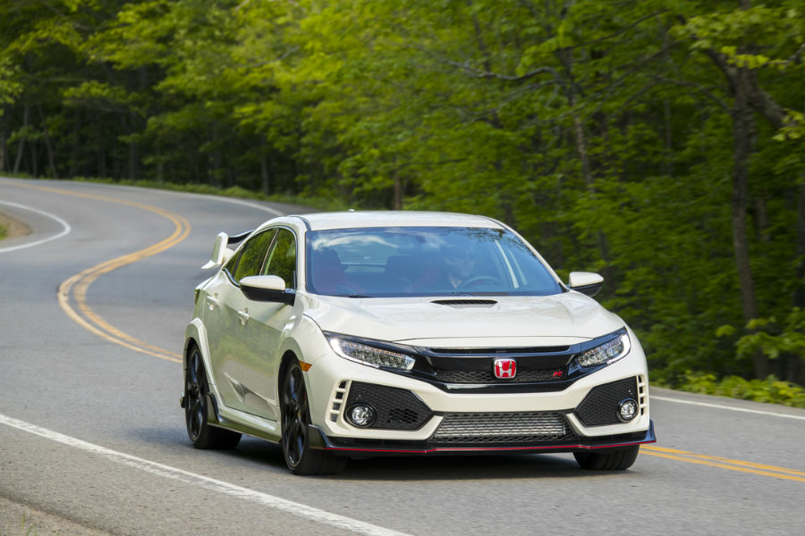 2017 and 2018 honda civic type r shown from front driving on forest road near vineland nj