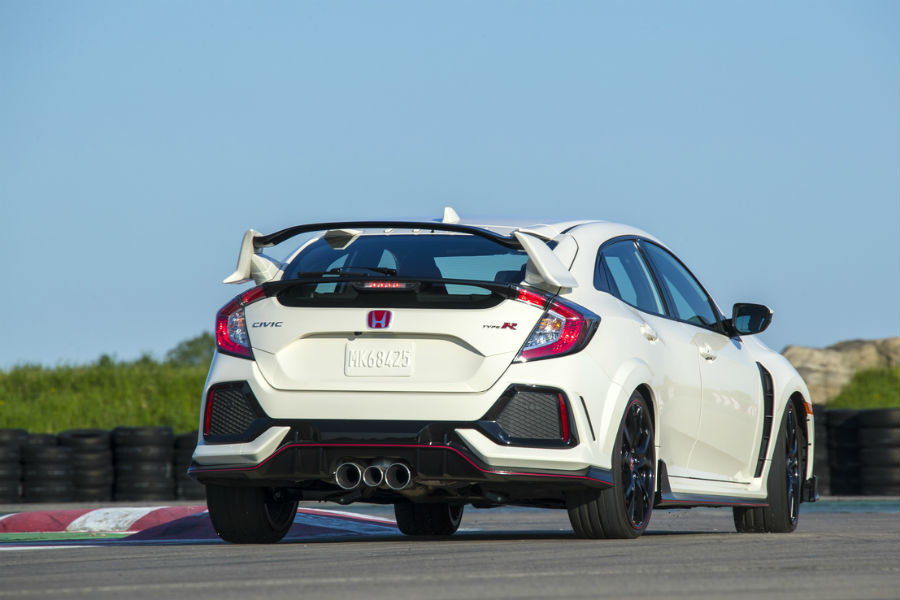 2017 and 2018 honda civic type r rear view shown with rear bumper and spoiler detail on track-style road near vineland nj