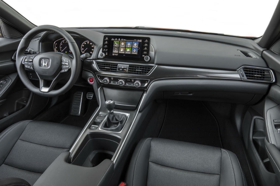 2018 honda accord sport 2.0t interior shown with manual shift and large infotainment screen