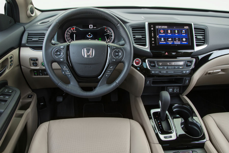 2018 honda ridgeline interior showing dashboard and infotainment system with apple carplay