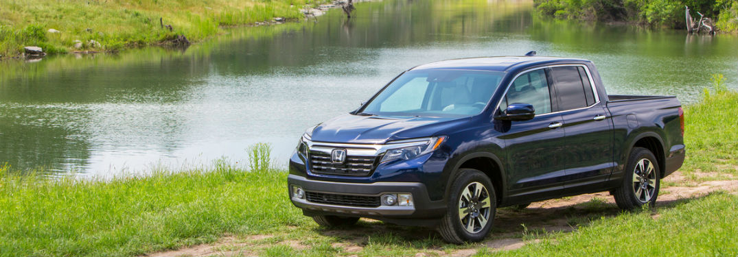 2018 honda ridgeline seen on shore of lake or pond with isometric top down view